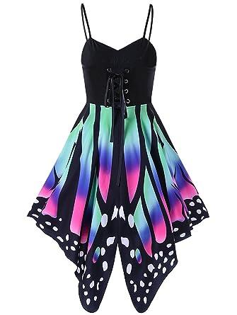 12ae9c9d1d94 Geckatte Women Butterfly Print Spaghetti Strap Lace Up Empire Waist Swing Dress  Plus Size