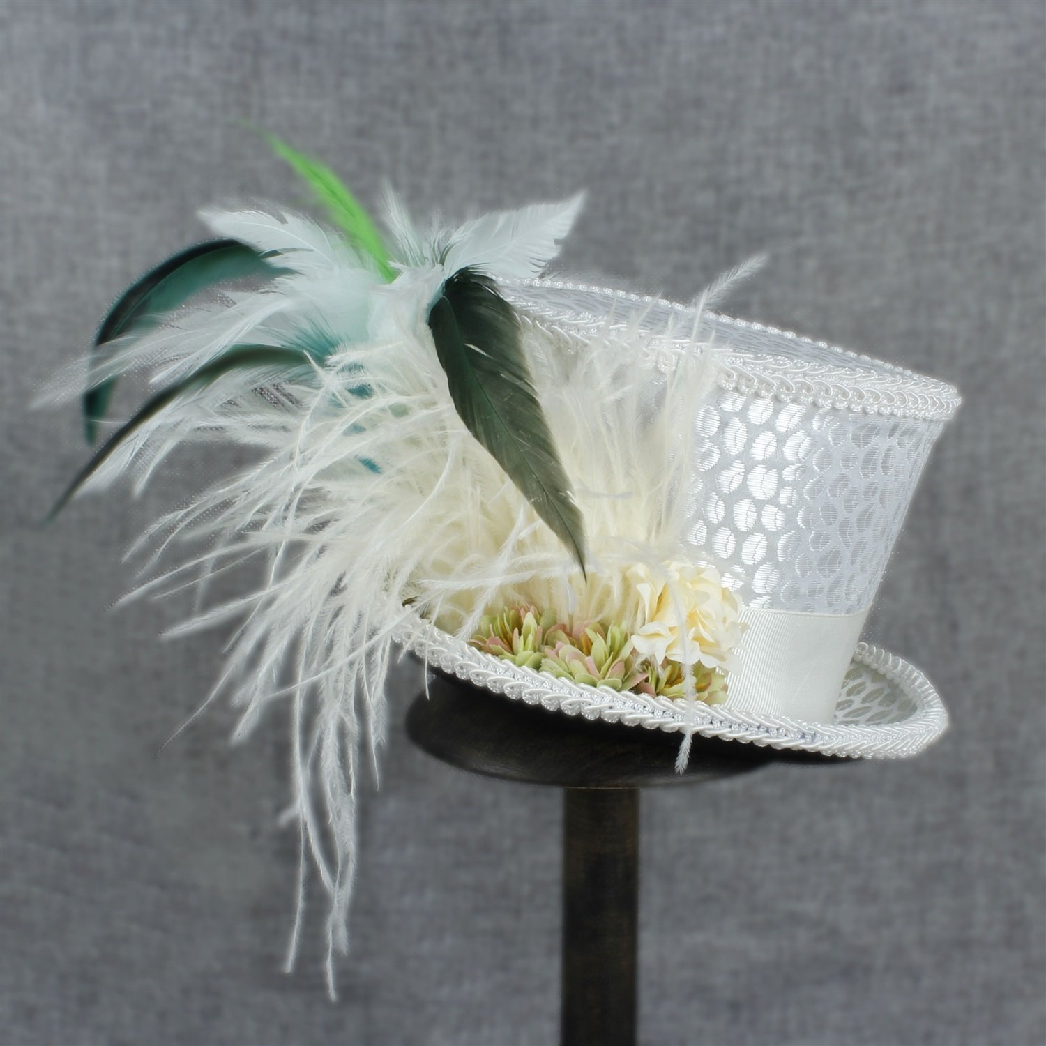 LL Women's White Mini Top Hat Tea Hat Mad Hatter Tea hat, Bridal Hat, Kentucky Derby hat (Color : White, Size : 25-30cm) by LL (Image #6)