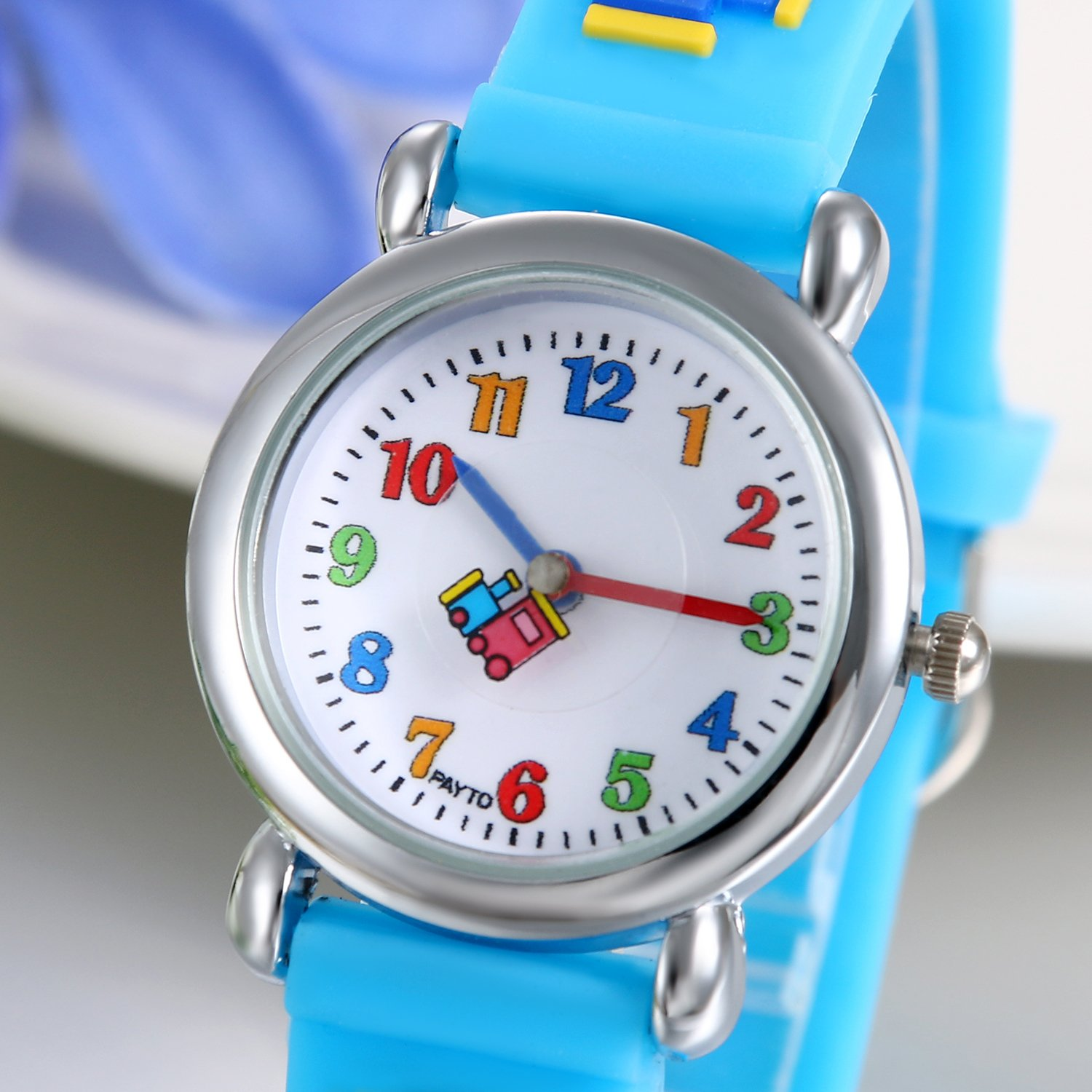 Amazon.com: JewelryWe Watch for Girls Boys Easy Reading Times Teacher Silver Case Blue Rubber Kids Watches: Watches