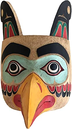 Solid Wood Hand Crafted Eagle Warrior Protection Mask Wall Hanging Decor Native American Northwest Style Premium Quality Clothing
