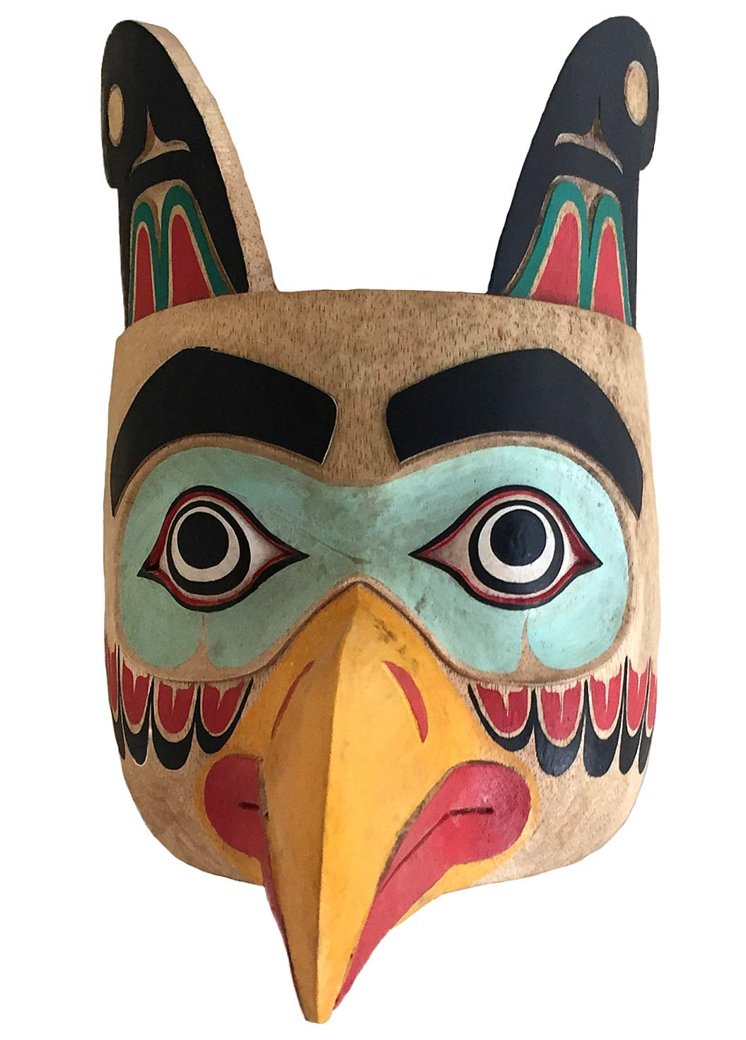 Premium Quality OMA Solid Wood Hand Crafted Eagle Warrior Protection Mask Wall Hanging Decor Native American Northwest Style
