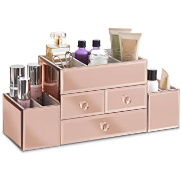 Beautify Large Mirrored Rose Gold Glass Jewelry Box U0026 Cosmetic Makeup  Organizer With 3 Drawers And