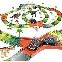 Dinosaur Track Toy Set 305 Piece, Dinosaur Car Race Track Toy with 264 Flexible Tracks, 2 LED Light Up Dinosaur Cars…