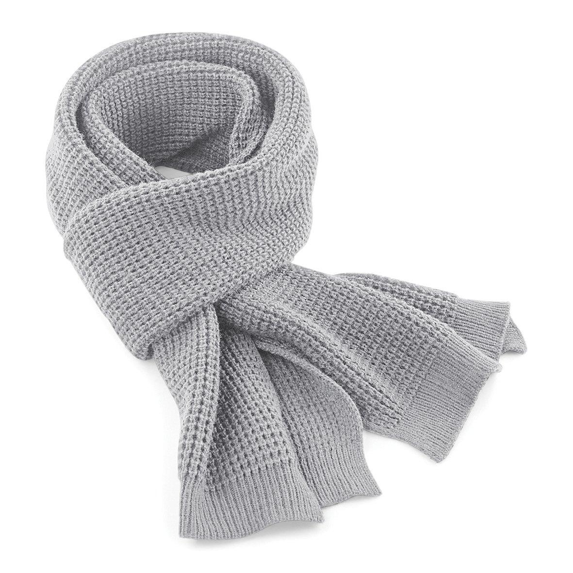 Beechfield Unisex Classic Waffle Knit Winter Scarf (One Size) (French Navy) UTRW3665_2
