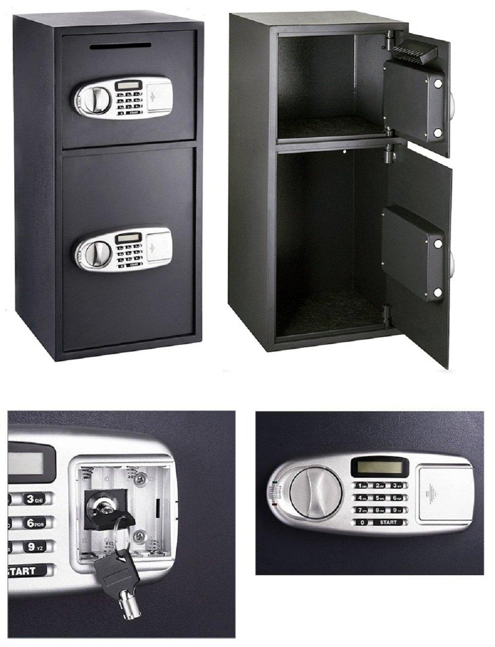 Digital Double Door Safe Depository Drop Box Safes Cash Office Security Lock by JDM Auto Lights
