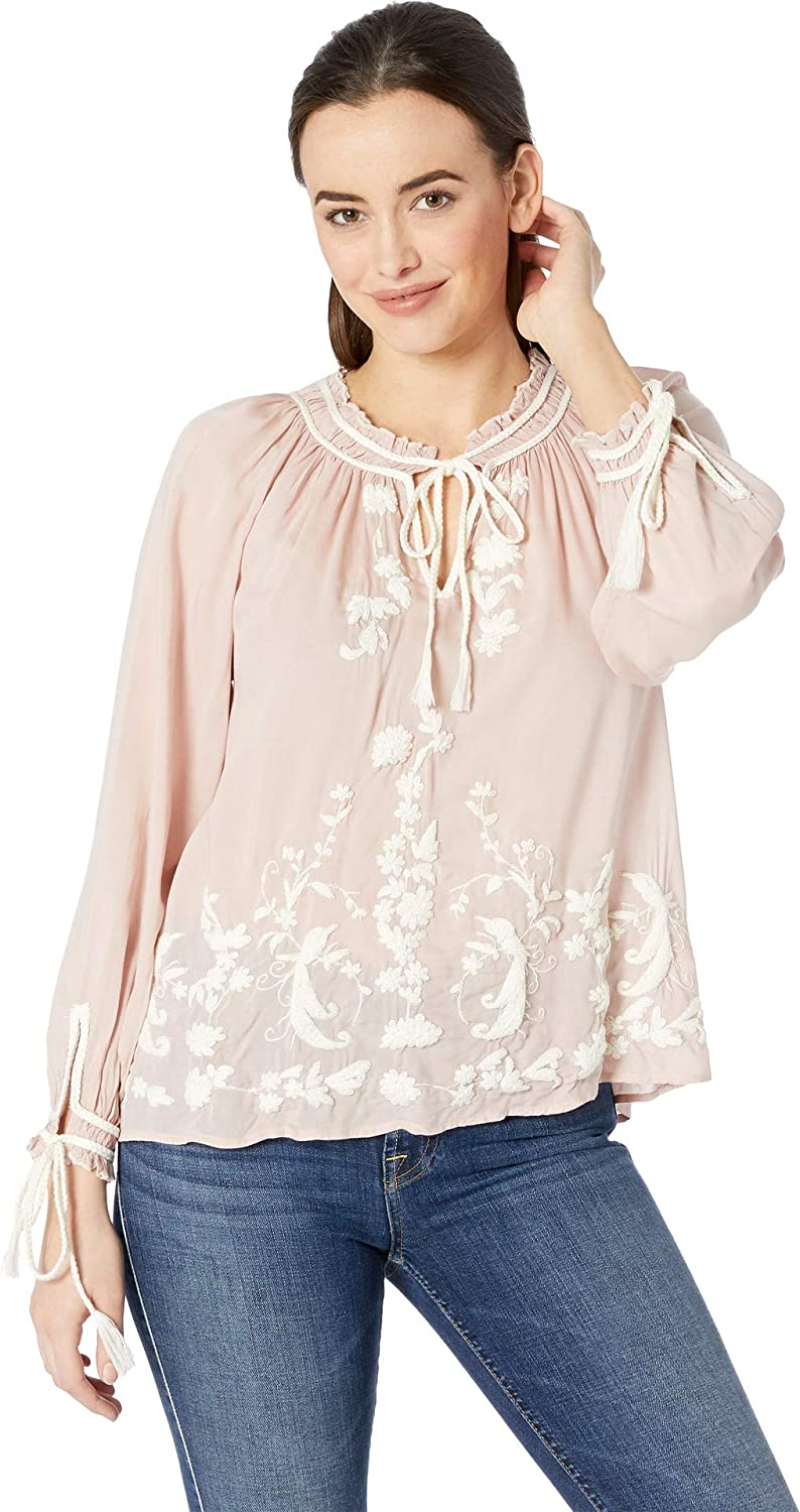 bluesh Lucky Brand Women's Embroidered Peasant Top