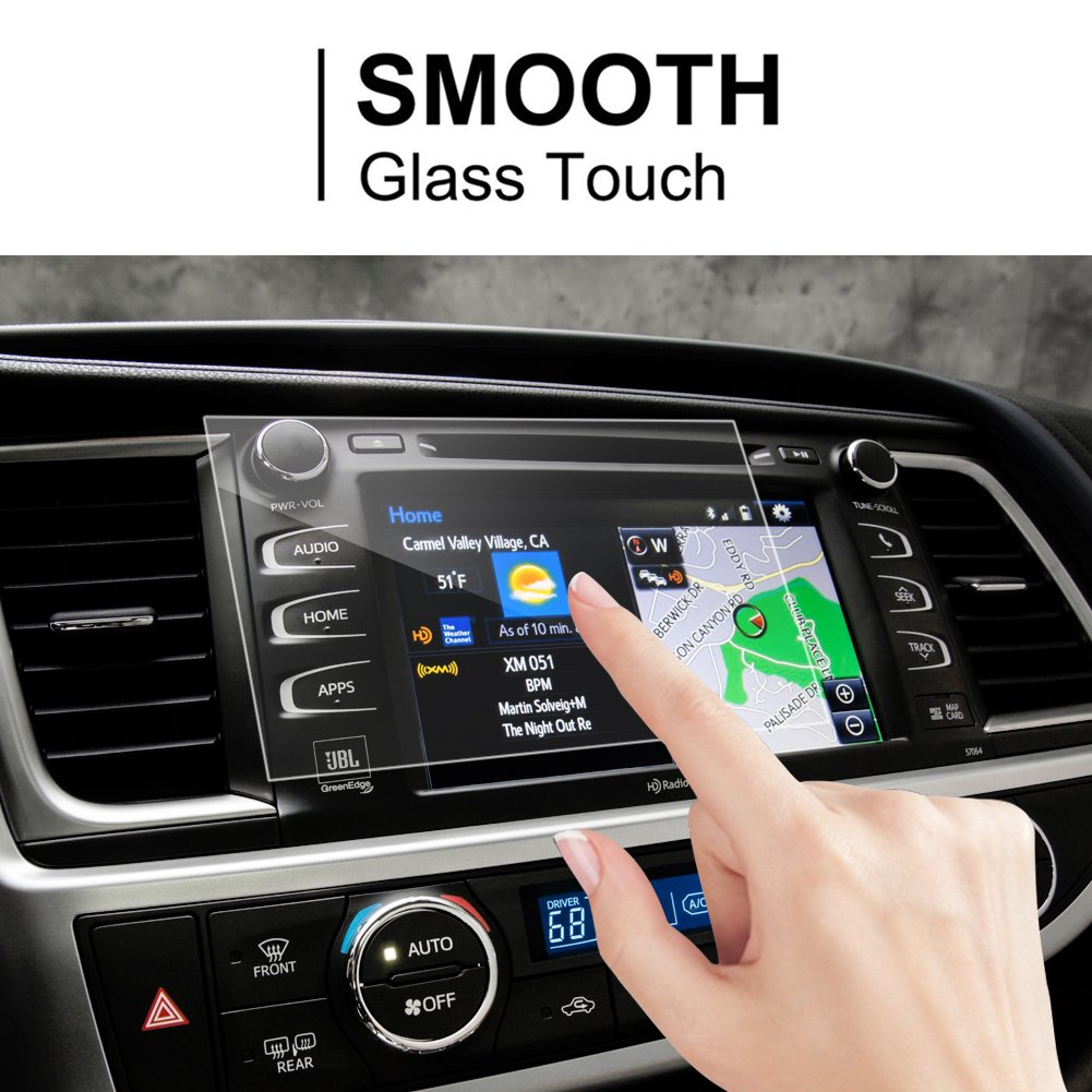 LFOTPP 2014-2018 Toyota Highlander LE Plus XLE Entune 8 Inch Car Navigation Screen Protector, [9H] Tempered Glass Infotainment Center Touch Screen Protector Anti Scratch High Clarity