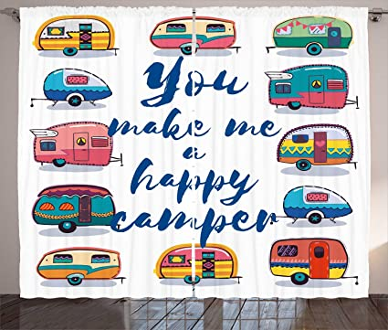 camper curtains by ambesonne you make me happy camper