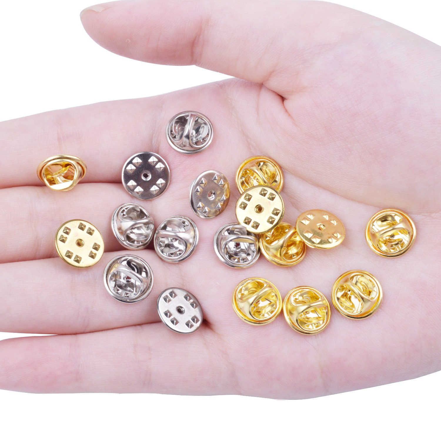 BronaGrand 100 Pcs Metal Pin Keepers Butterfly Clutch Badge Insignia Clutches Pin Backs Replacement Multicolor