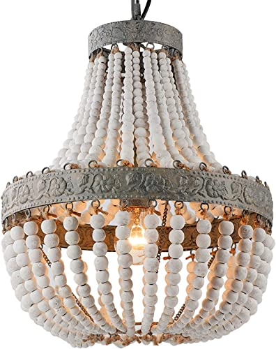 Newrays Wood Bead Chandelier Pendant Gray White Finishing Bohemian Boho Beachy Ceiling Lamp Light Fixtures Antique White