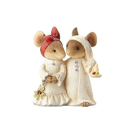 enesco 4057651 heart of christmas mice couple with candle figurine