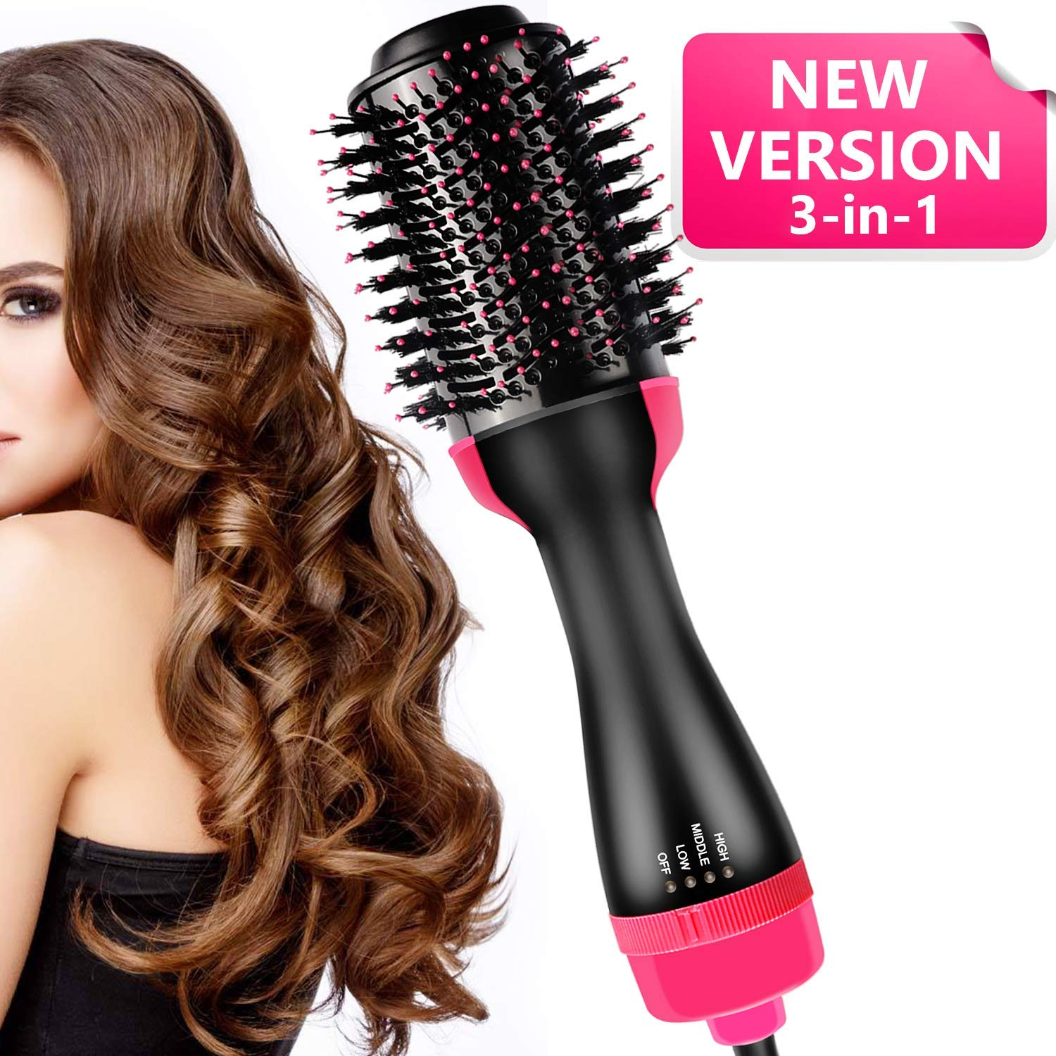 LINCloud Hot Air Brush One Step 3 in 1 Negative Ion Hair Straightener Brush Hair Dryer Volumizer for Drying, Straightening, Curling with 3 Heat Setting for All Hair Types