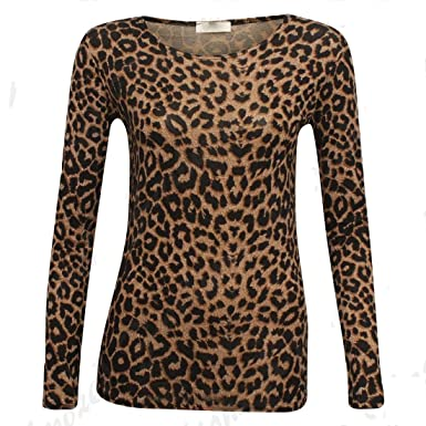 7d05d284ec Islander Fashions Womens Long Sleeve Brown Leopard Print Top Ladies Stretch  Viscose T Shirt S XL  Amazon.co.uk  Clothing
