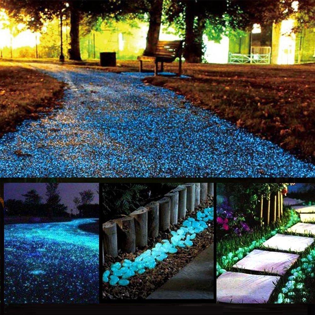 chic style Glow Stones, Glowing in the Dark Pebbles 150pcs for Walkways, Window, Yard Grass, Driveway, Outdoor Decor DIY Decorative Gravel Stones, Fish Tank Decoration (Blue)