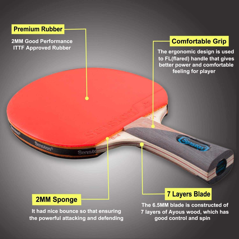 1 Table Tennis Paddle 2 Ping Pong Balls Senston Ping Pong Racket