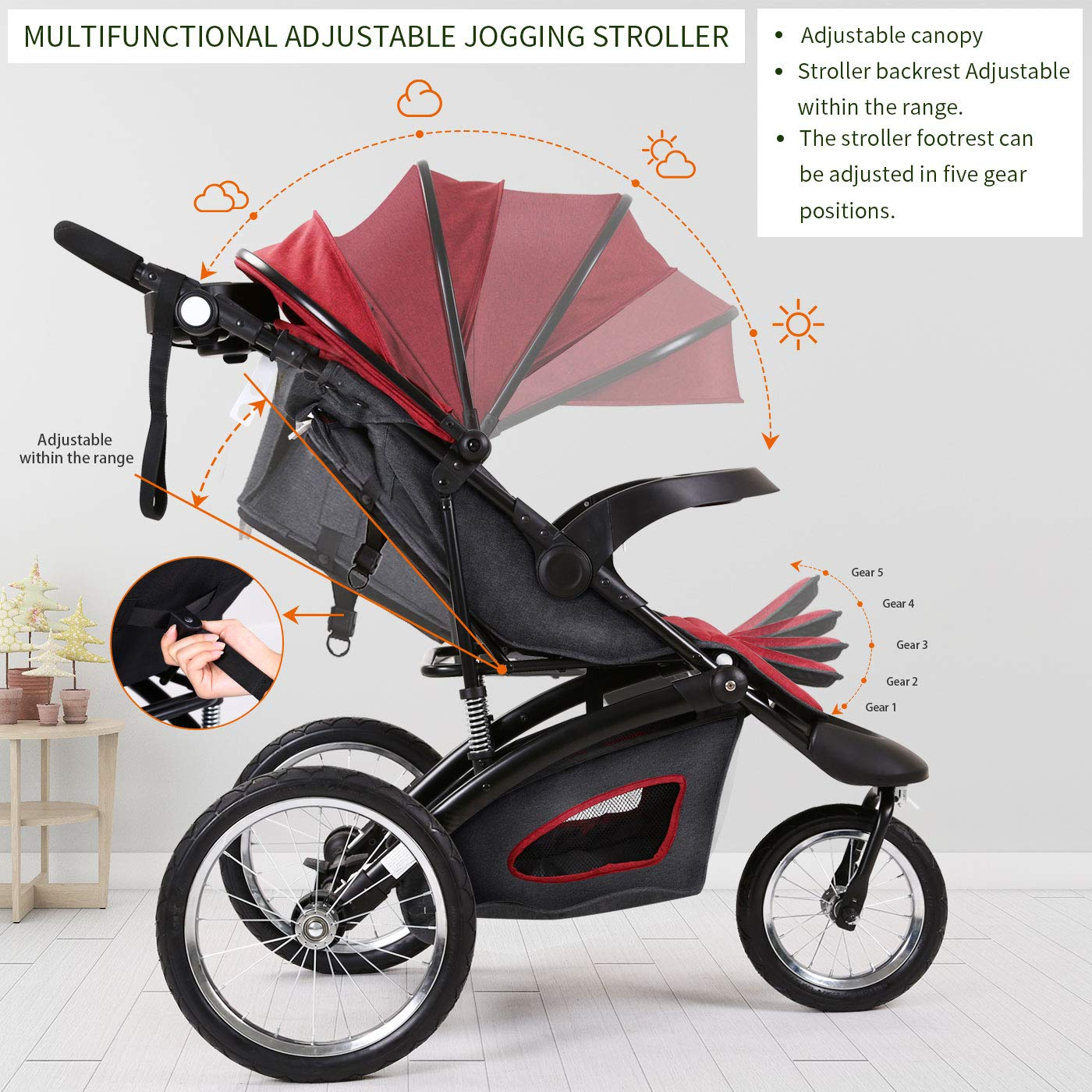 Jogging Stroller Fold City Baby Jogger Travel Citi Jog Strollers Single Toddler Baby Pram Jogging Compact Urban Ultralight Joggers Beby Carriage Pushchair Stroller Travel System by Cynebaby / HAIXIAO (Image #2)