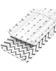 Zooawa Diaper Changing Pad Cover, 2 Pack 100% Organic Cotton Cradle Sheet Changing Table Pad Cover Set with Safety Buckle for Baby Newborn Infant, Stripe + Arrow