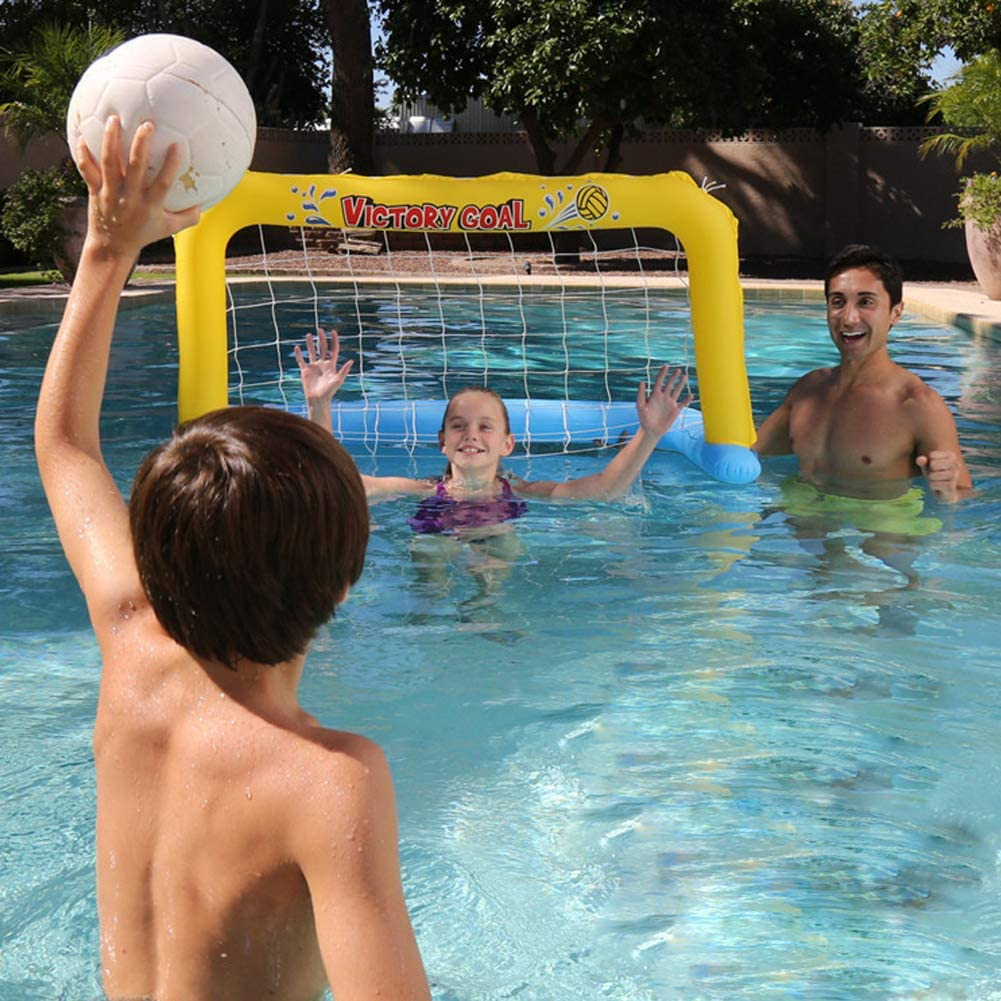 DT Portería de Fútbol para Niños Portería de fútbol Inflable Red Flotante Piscina de Agua Balonmano Goal Net Pool Juguetes Set para Verano Natación Juego de Deportes acuáticos