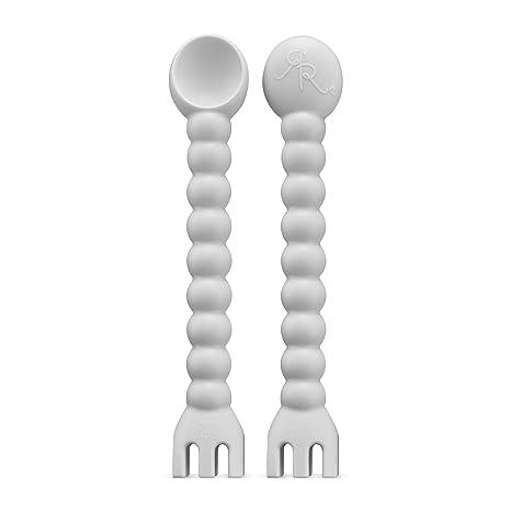 Ryan & Rose   Cutie Tensil (2 Pack)   Baby Spoon And Fork 2 In 1 Self Feeding Utensil (Grey) by Ryan & Rose