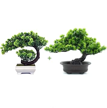 Amazon Com Yoerm Living Room Decor Greenery Artificial Bonsai Tree Fake Plant For Home Office Hotel Decoration 2 Pack Furniture Decor