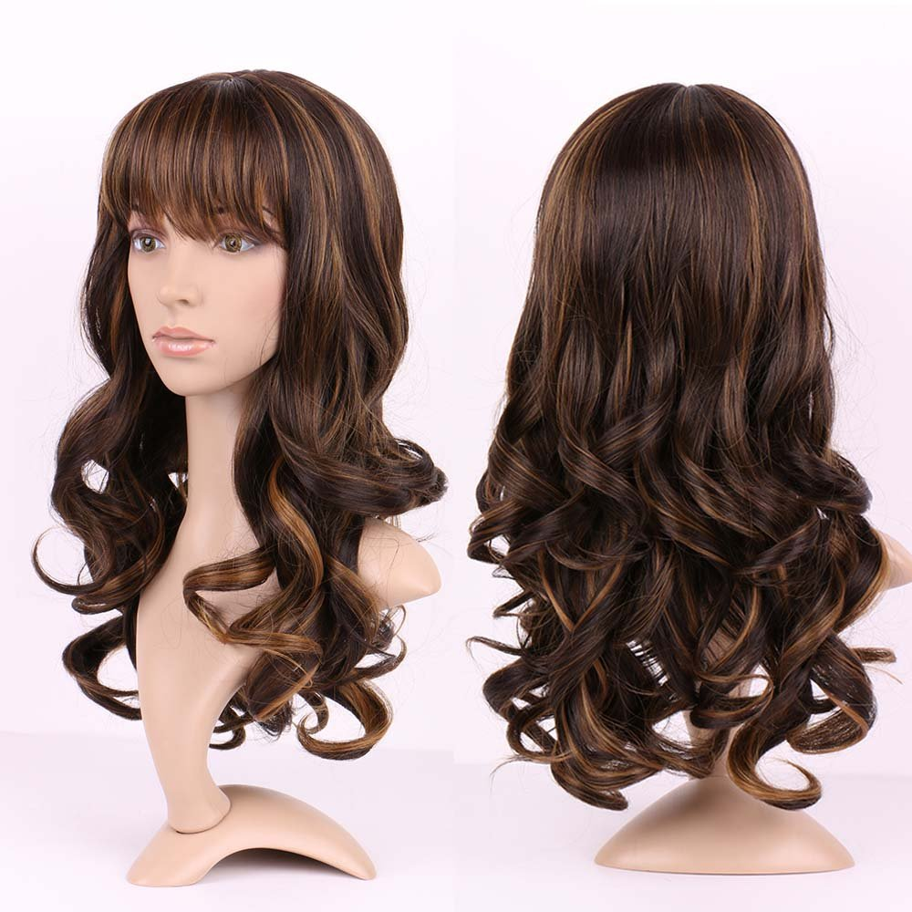 S-noilite 17'' Ombre Black Coffee mix Full Wig Curly Synthetic Wigs Heat Resistant Hair Women Lady Cosplay use US Post
