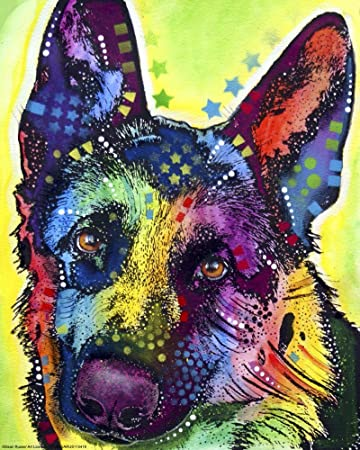german shepherd 1 by dean russo art print 13 x 16 inches - Dean Russo