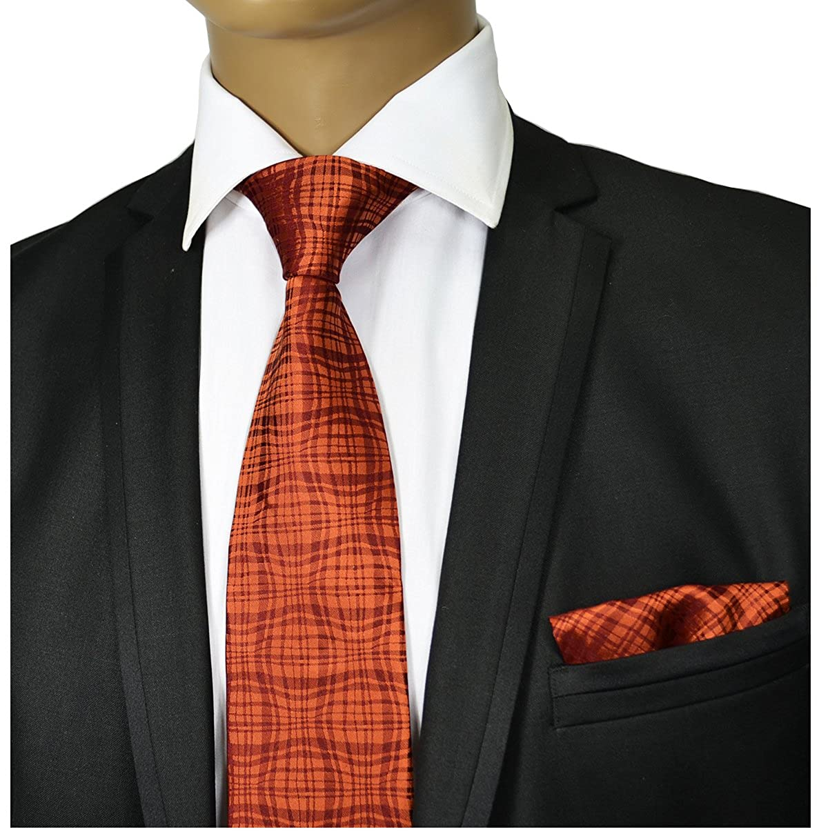 Bronze Silk Tie and Pocket Square Paul Malone Red Line