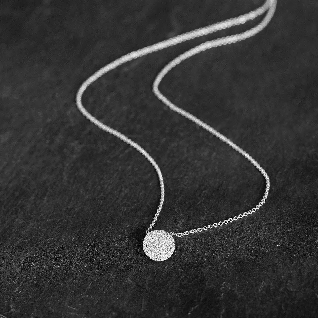 Harcourt Jewels Women's 14K White Gold 16'' Long Micropave Diamond Disc Pendant (.38 Cttw, Vs Clarity), One Size