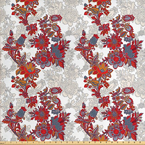 Floral Fabric by the Yard by Ambesonne, Romantic Boho Style Narcissus Magic Magnolia Rose Vibrant Pattern Print, Decorative Fabric for Upholstery and Home Accents, Black Orange Red Grey