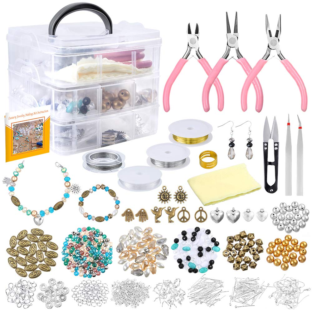 PP OPOUNT Jewelry Making Supplies with Instructions Includes 19 Styles Beads, 8 Styles Findings, Pliers, Cutters, Tweezers, Bead Wire, Storage Case, Charms for Jewelry Necklace Bracelet Making Repair by PP OPOUNT
