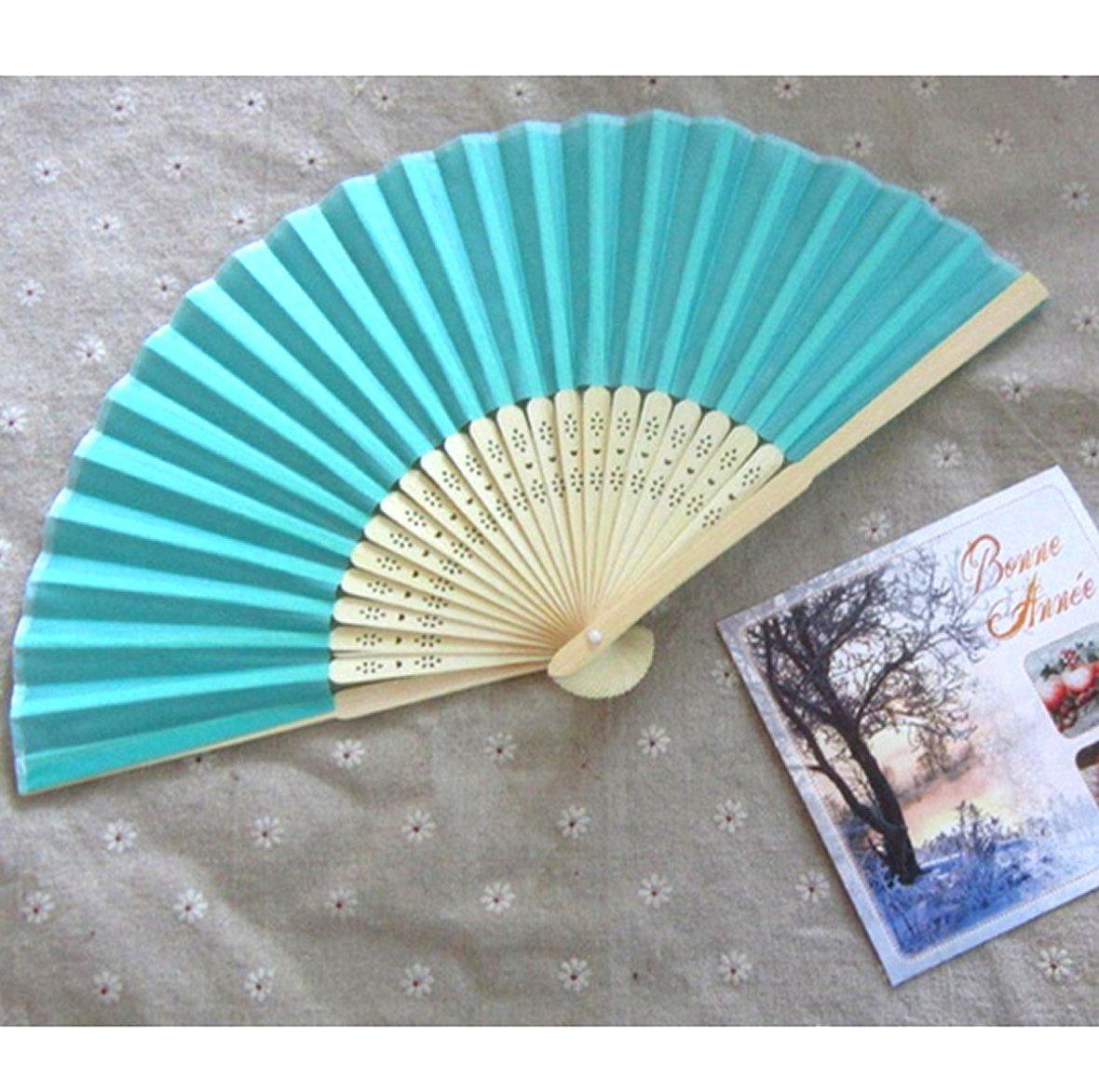 Calcifer® 100 lot Bambus Rippen Hochzeit Papier Fans Crafts Hochzeitsgastgeschenke niedliche Party Geschenk himmelblau himmelblau
