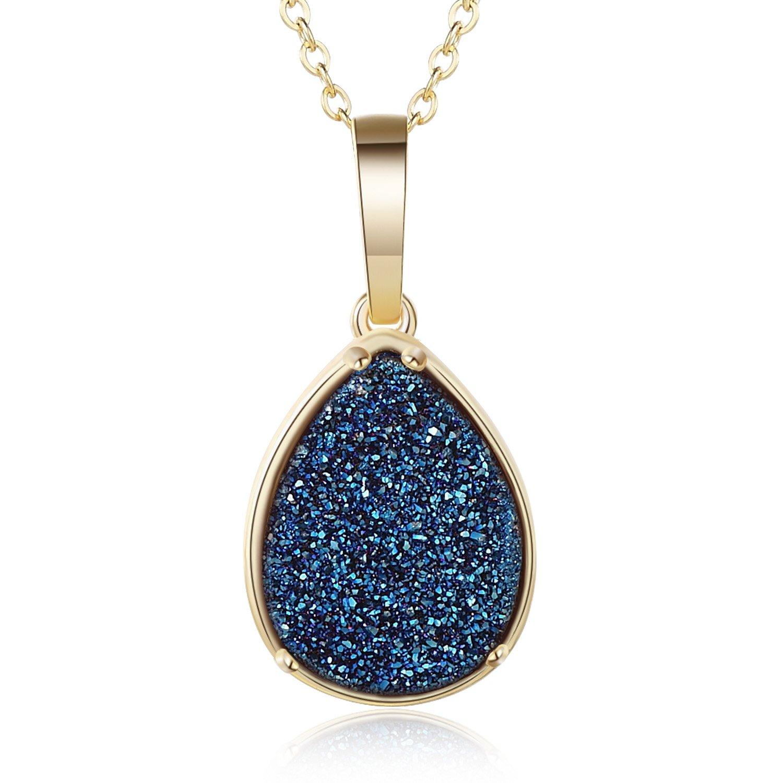 Ellena Rose Teardrop Druzy Necklace, 100% Natural Druzy, 14K Gold Plated, Teardrop Pendant Druzy Necklaces for Women, Genuine Druzy Jewelry