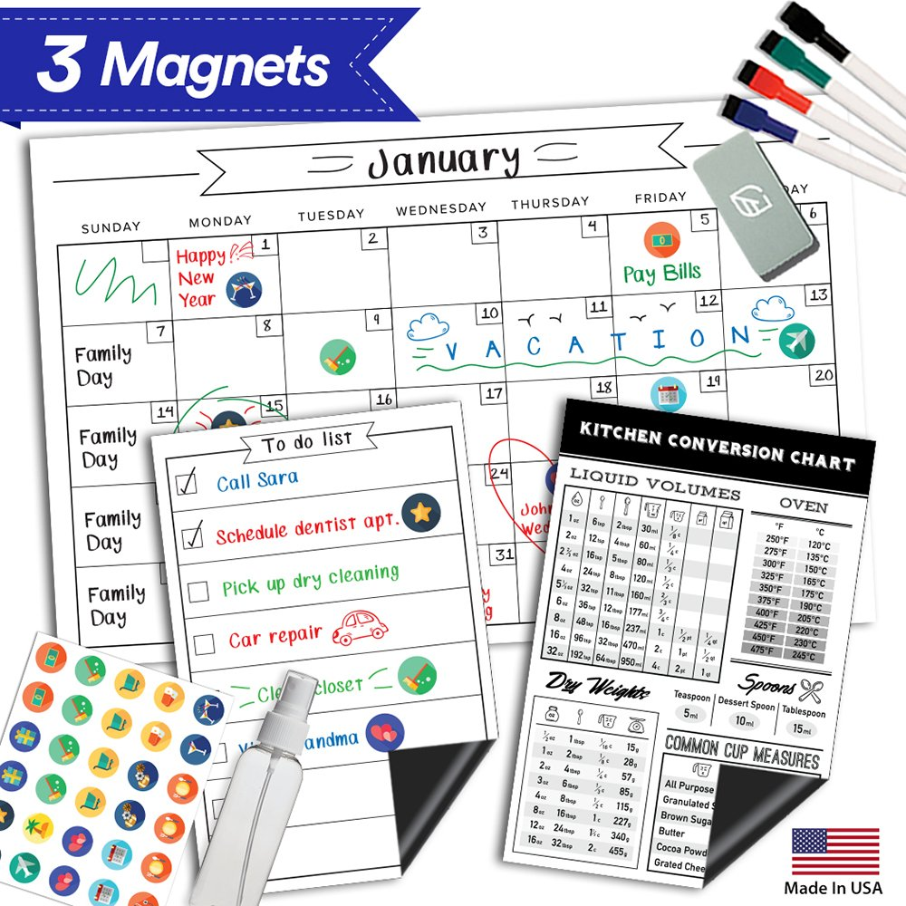 Magnetic Dry Erase Refrigerator Calendar - 17'' x 11'' - Large Reusable Monthly White Board - Meal Cooking Conversion Chart & To Do Grocery List - 2018 Kitchen Gift Set - Best Supplies For Smart Planner
