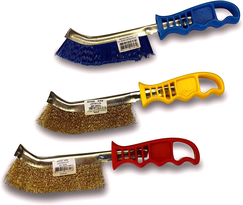 1 brosse laiton SKRIB 1 brosse acier 1 brosse PVC Brossage et nettoyage des surfaces m/étalliques Lot de 3 brosses /à main m/étalliques convexes Kibros 3LOTSPIV2