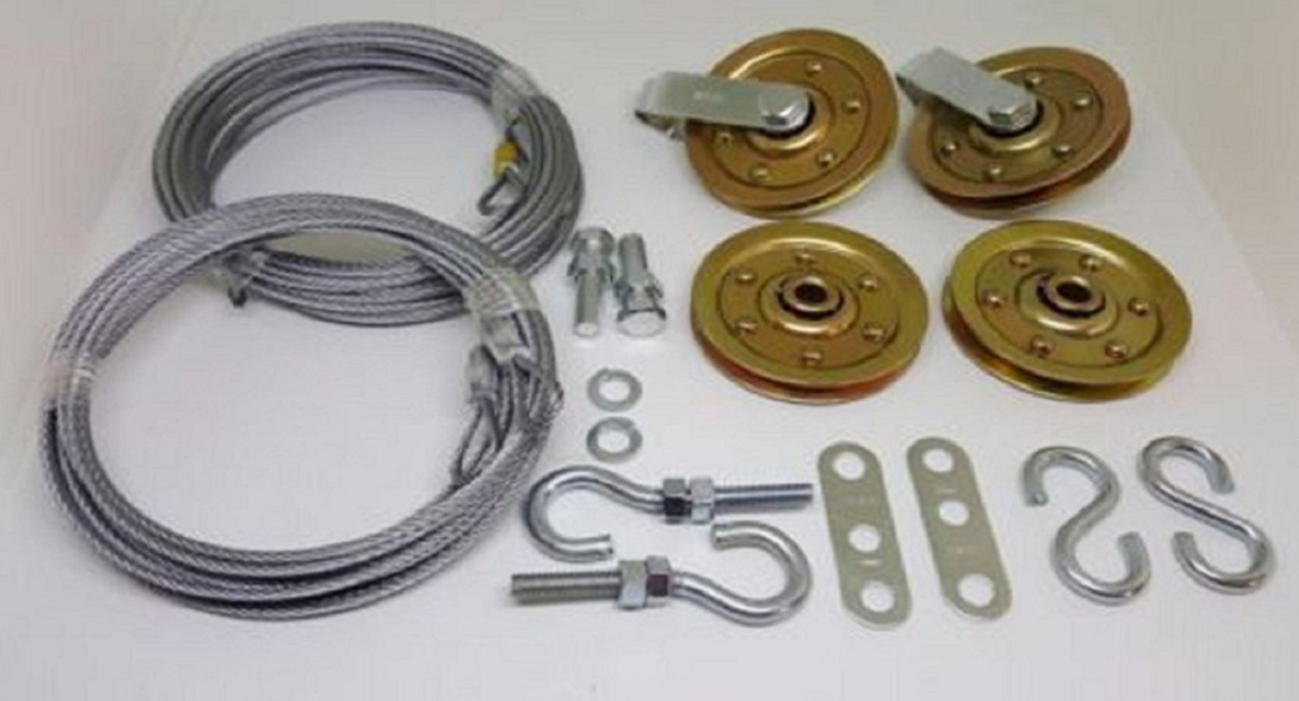 USA Premium Store Garage door extension spring Extra Heavy Duty pulley sheave kit & SAFETY CABLE by USA Premium Store
