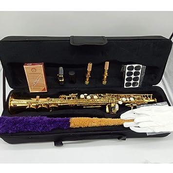 Saxofón Soprano S-991 de la marca Music Fancier Club, latón lacado dorado,