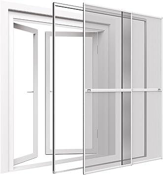 Mosquitera para puerta corredera doble, 230 x 240 cm, ajustable, con marco de pinza, montaje sin necesiad de agujeros, color blanco: Amazon.es: Bricolaje y herramientas