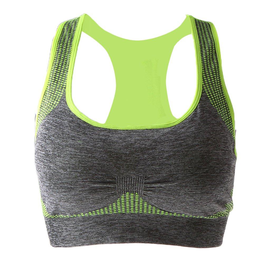 Jili Online Womens Sports Comfort Full-Support Sport Bra Seamless Padded Bra Top Vest Comfort Bra Green