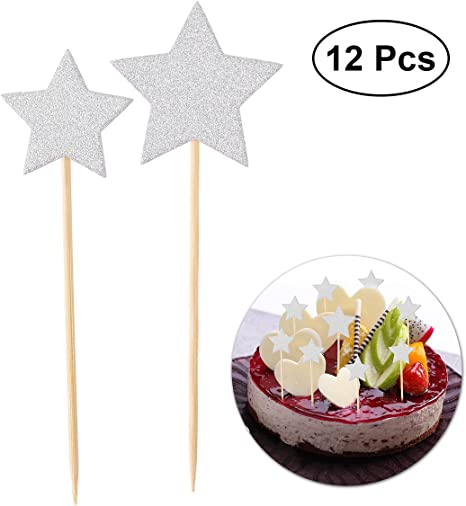Magnificent Amazon Com Bestoyard 12 Pcs Glitter Star Cake Picks Cupcake Funny Birthday Cards Online Alyptdamsfinfo
