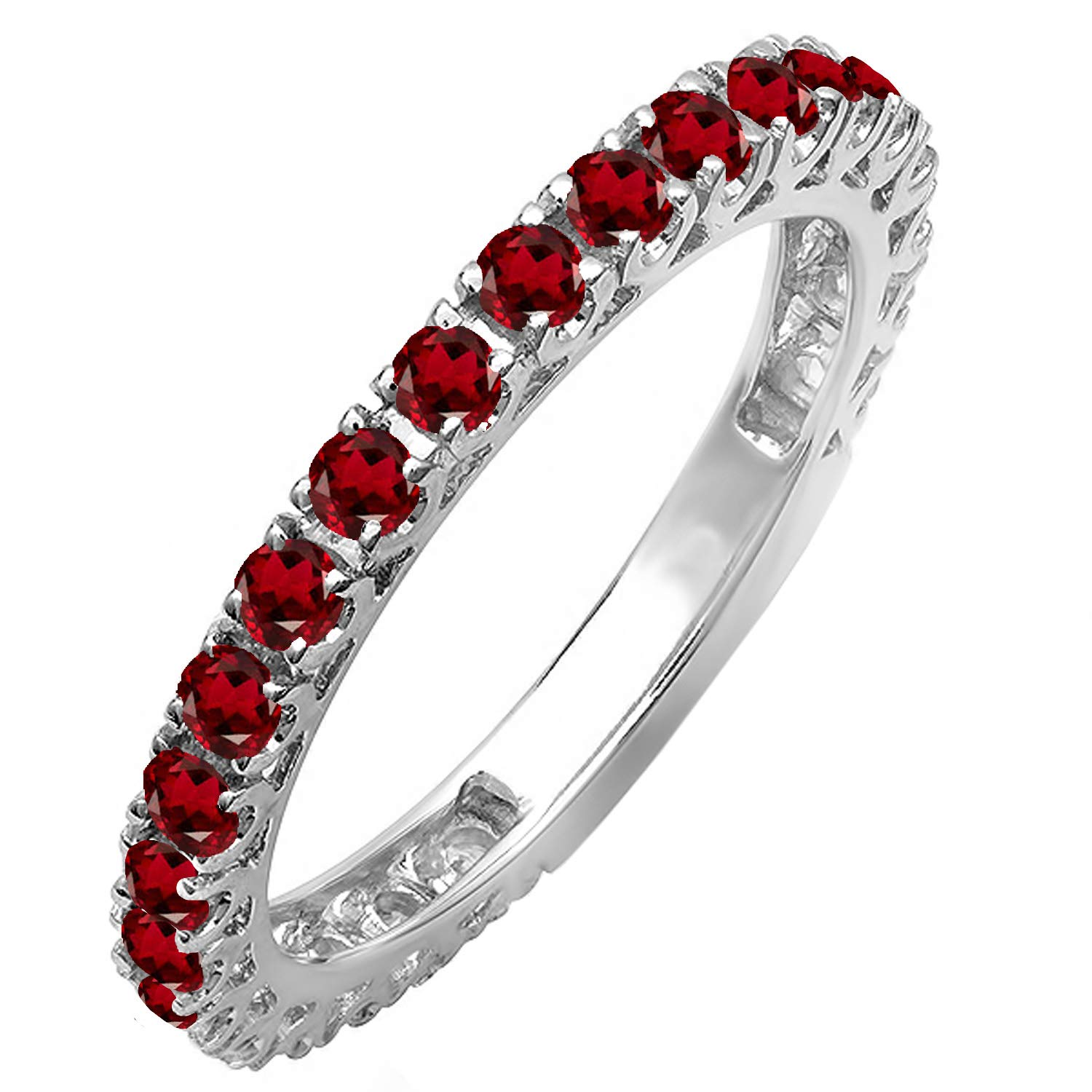 Dazzlingrock Collection 10K Round Garnet Eternity Sizeable Stackable Wedding Band, White Gold, Size 7.5