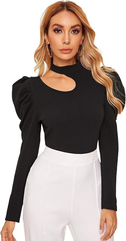 Romwe Women's Puff Long Sleeve Cut Out Mock Neck Slim Fit Work Office Elegant Blouse