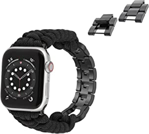 Moolia Paracord Watch Band Compatible with Apple Watch 38mm 40mm for iWatch Series 6 5 4 3 2 1 SE, Men Handcrafted Braided Paracord Sport Replacement Strap with Stainless Steel Buckle, Black+Links