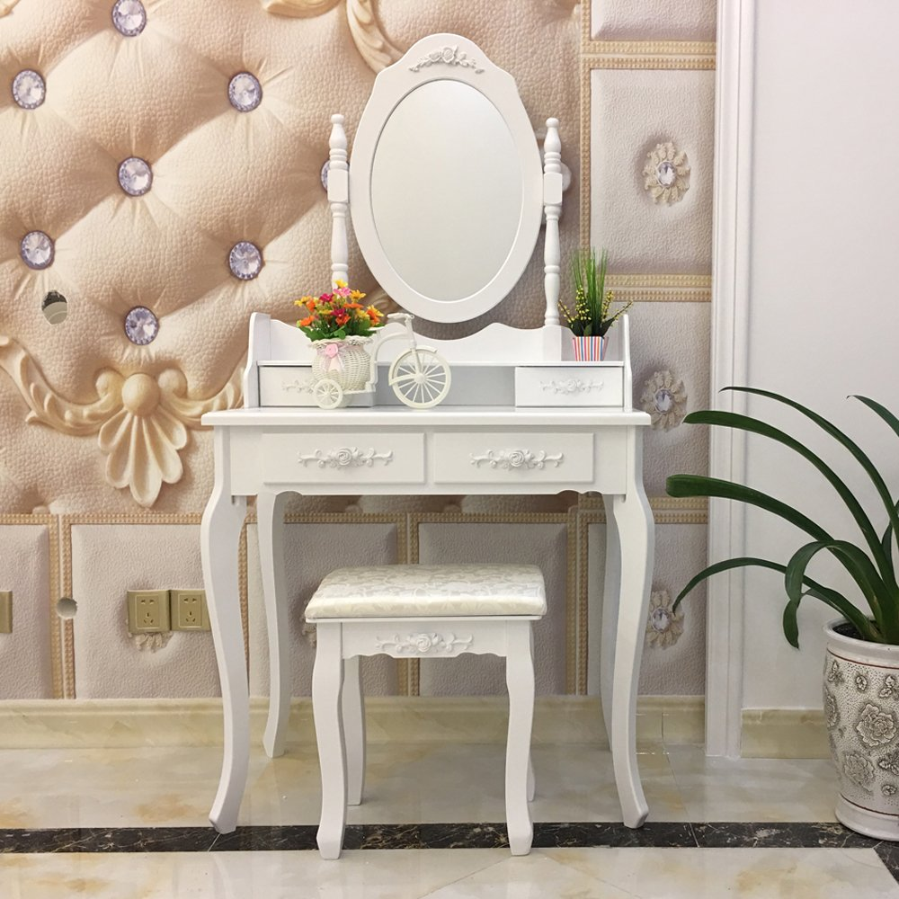 FCH Wooden White 4 Drawers Vanity Table Set Princess Vanity Makeup Table with Cushioned Stool