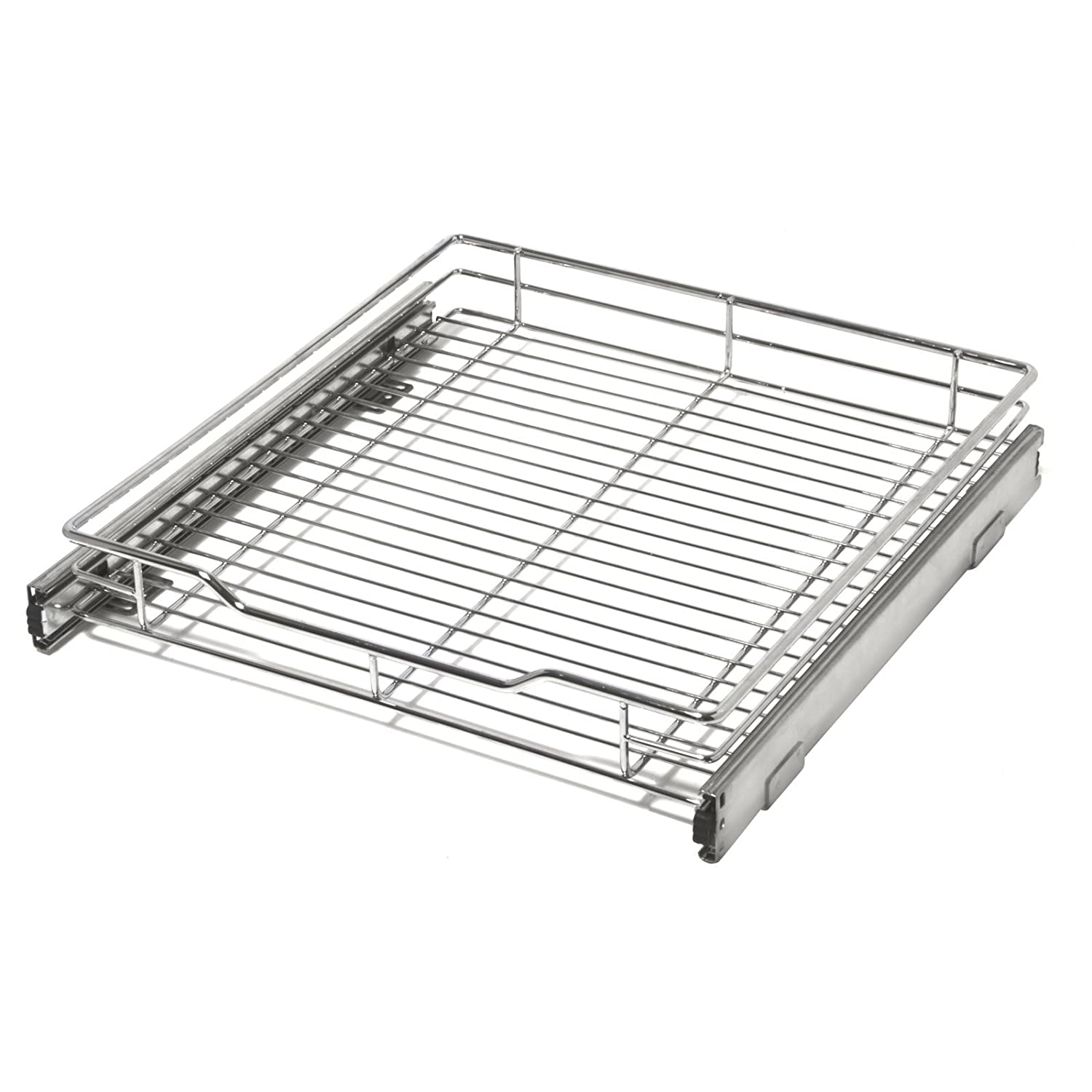 Smart Design 1-Tier Shelf Expandable Roll Out Cabinet Organizer w/Mounting Hardware - Medium - Steel Metal - Holds 100 lbs. - Cabinets & Cookware Items - Kitchen (18-35 x 14.5 Inch) [Chrome]