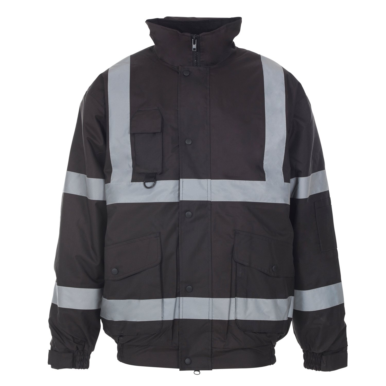 Myshoestore® ad alta visibilità Bomber ad alta visibilità da lavoro da uomo Wear imbottita impermeabile con cappuccio giacche taglia S-3X L