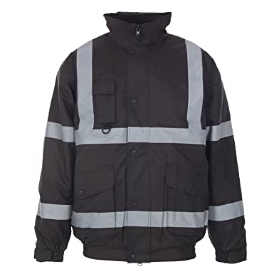 Clothing, Shoes & Accessories Mens Hi Viz High Visibility Bomber Safety Work Black Hooded Jacket Coat All Size Facility Maintenance & Safety