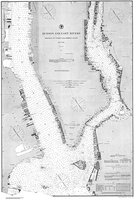 8 x 12 inch 1887 new york old nautical map drawing chart of hudson and east