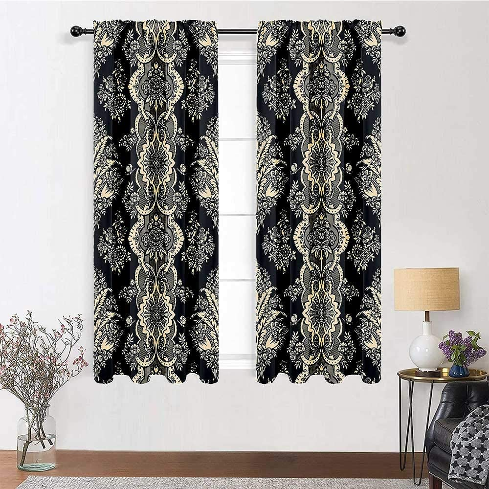 Amazon Com Room Darkening Curtain Damask All Season Curtains Victorian Style Baroque Classic Pattern With Ornamental Floral Leaves Image Keep Privacy For Kids Nursery Room 2 Rod Pocket Panels 42 W X 45 L Home