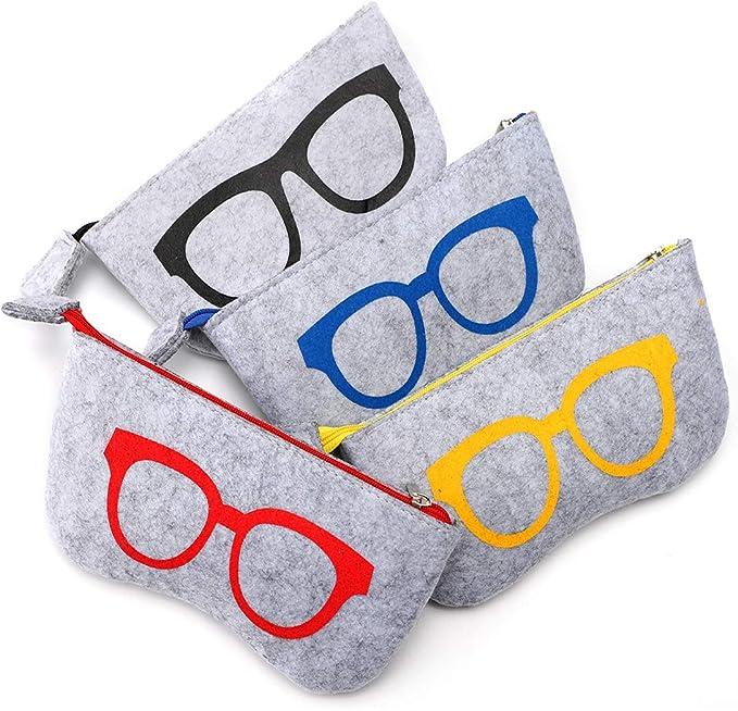 Soleebee 4 Piezas Bolsas para Gafas de Sol Portátiles Funda de Fieltro Suave Cremallera Gafas Monedero Bolsa Maquillaje Bolsa de Almacenamiento: Amazon.es: Ropa y accesorios