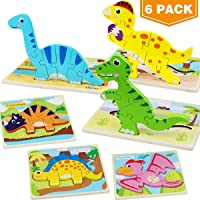 Aitbay Toddler Puzzles 6 Pack Dinosaur Wooden Puzzle for Toddler Kids 2 3 4 Year...